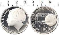 Изображение Монеты Италия 10000 лир 1998 Серебро Proof- Чемпионат по футболу
