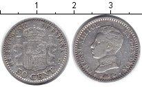 Изображение Монеты Испания 50 сентимо 1904 Серебро XF Альфонсо XIII