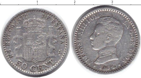 Картинка Монеты Испания 50 сентимо Серебро 1904
