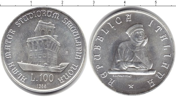 Картинка Монеты Италия 100 лир Серебро 1988