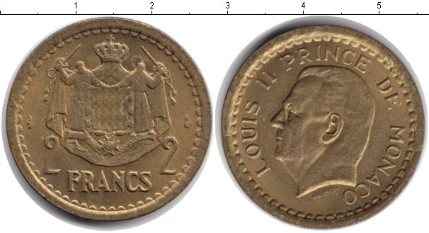 Картинка Монеты Монако 2 франка  1945
