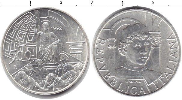 Картинка Монеты Италия 500 лир Серебро 1992