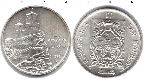 Картинка Монеты Сан-Марино 1.000 лир Серебро 1988