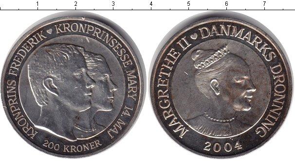 Картинка Монеты Дания 200 крон Серебро 2004