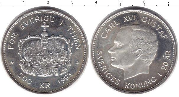 Картинка Монеты Швеция 200 крон Серебро 1993