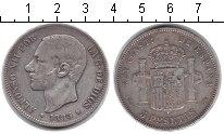 Изображение Монеты Испания 5 песет 1885 Серебро XF Альфонсо XII