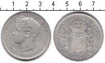 Изображение Монеты Испания 5 песет 1898 Серебро XF