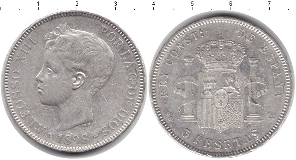 Картинка Монеты Испания 5 песет Серебро 1898