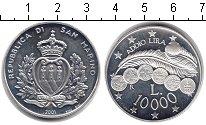 Изображение Монеты Сан-Марино 10.000 лир 2001 Серебро Proof- Прощай лира