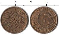 Изображение Монеты Веймарская республика 5 пфеннигов 1935  XF J
