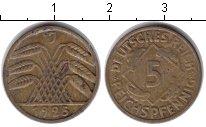 Изображение Монеты Веймарская республика 5 пфеннигов 1925 Медь XF J