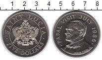 Изображение Монеты Сент-Люсия 5 долларов 1986 Медно-никель Proof- Визит Папы в июле 19