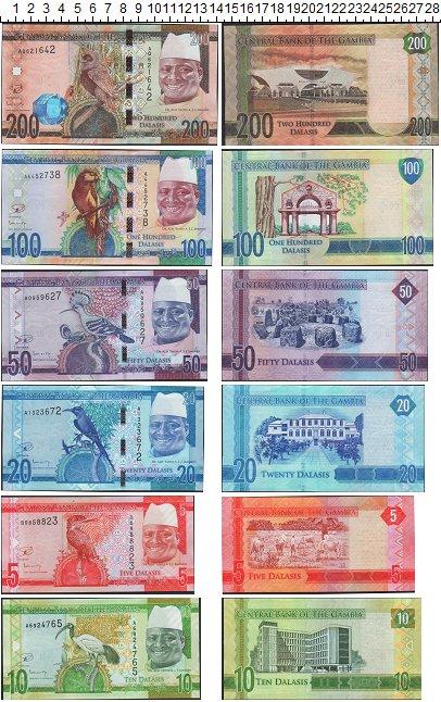 Изображение Банкноты Гамбия Набор банкнот Гамбии 385 долларов 0  UNC-