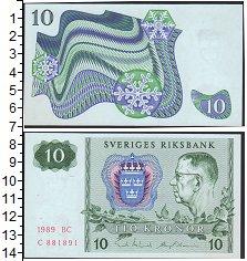 Изображение Боны Швеция 10 крон 1989  UNC- Король Густав VI Адо