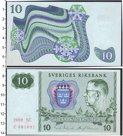Картинка Боны Швеция 10 крон  1989
