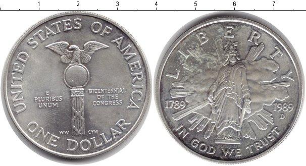 Картинка Монеты США 1 доллар Серебро 1989