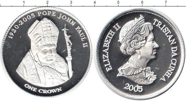Картинка Монеты Тристан-да-Кунья 1 крона Серебро 2005