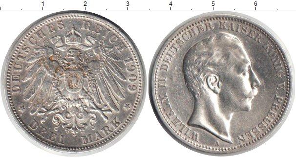 Картинка Монеты Пруссия 3 марки Серебро 1909