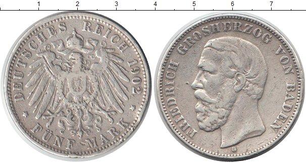 Картинка Монеты Баден 5 марок Серебро 1902