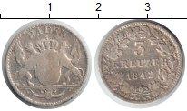 Изображение Монеты Баден 3 крейцера 1842 Серебро