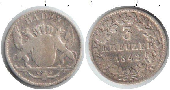 Картинка Монеты Баден 3 крейцера Серебро 1842
