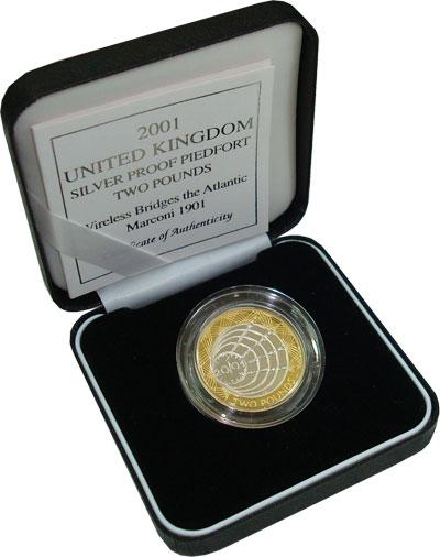 Изображение Подарочные наборы Великобритания 100 лет трансатлантической телеграфной связи 2001 Серебро Proof