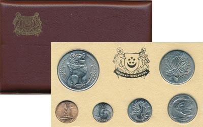 Изображение Подарочные монеты Сингапур Сингапур 75 1975  UNC !!! Упаковка имеет п