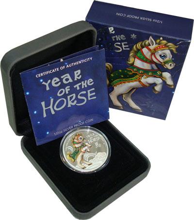 Изображение Подарочные монеты Острова Кука Год лошади 2014 Серебро Proof Монетный двор Австра