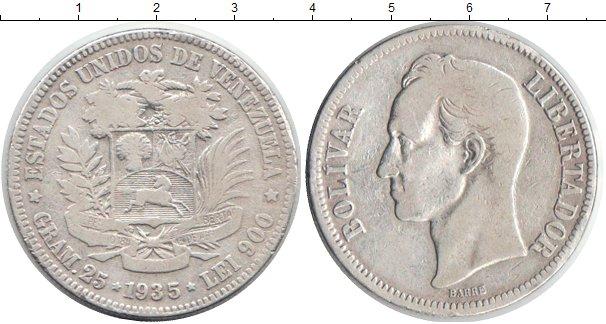 Картинка Монеты Венесуэла 5 боливар Серебро 1935