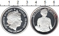 Изображение Монеты Теркc и Кайкос 5 крон 2001 Серебро Proof-