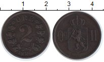 Изображение Монеты Норвегия 2 эре 1854 Медь XF Оскар II