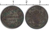 Изображение Монеты Баден 3 крейцера 1852 Серебро VF
