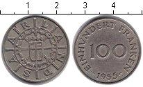 Изображение Монеты Саар 100 франков 1955 Медно-никель XF Протекторат Саар — т