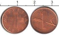 Изображение Монеты Швейцария 1 рапп 1976 Медь UNC-