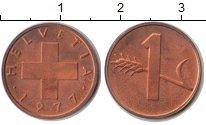 Изображение Монеты Швейцария 1 рапп 1977 Медь UNC-