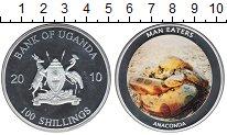 Изображение Монеты Уганда 100 шиллингов 2010 Посеребрение Proof Анаконда
