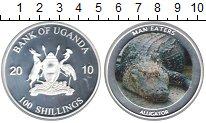 Изображение Монеты Уганда 100 шиллингов 2010 Посеребрение Proof Аллигатор