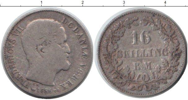 Картинка Монеты Дания 16 скиллингов Серебро 1856