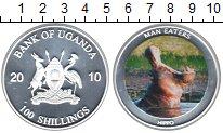 Изображение Монеты Уганда 100 шиллингов 2010 Посеребрение Proof Гиппопотам