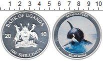 Изображение Монеты Уганда 100 шиллингов 2010 Посеребрение Proof Касатка