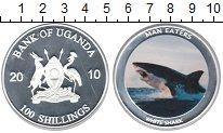 Изображение Монеты Уганда 100 шиллингов 2010 Посеребрение Proof Белая акула