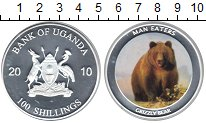 Изображение Монеты Уганда 100 шиллингов 2010 Посеребрение Proof Грызли