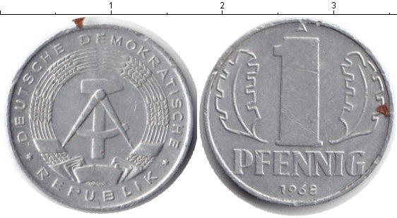 Картинка Барахолка ГДР 1 пфенниг Алюминий 1968