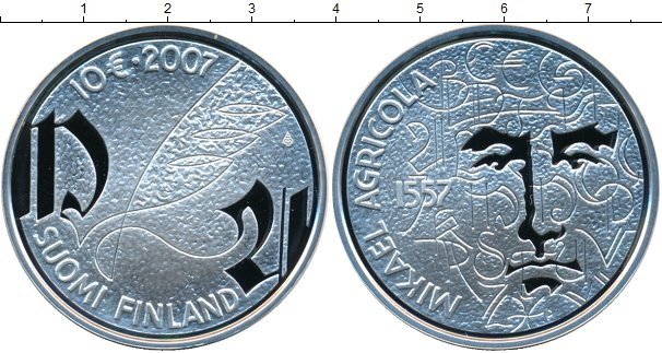 Картинка Монеты Финляндия 10 евро Серебро 2007