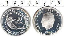 Изображение Монеты Испания 10 евро 2003 Серебро Proof- Хуан Карлос I. Чемпи