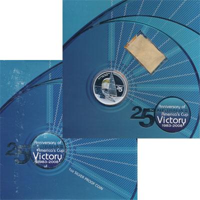 Изображение Подарочные монеты Австралия 25-ая победа Австралии в большой американской регате 2008 Серебро Proof Представляем Вашему
