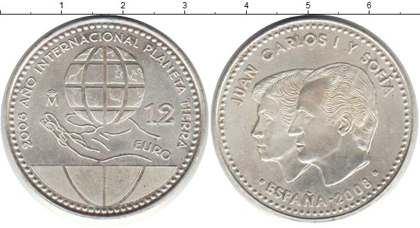 Картинка Монеты Испания 12 евро Серебро 2008