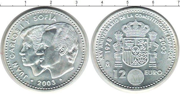 Картинка Монеты Испания 12 евро Серебро 2003