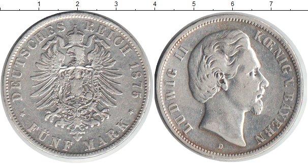 Картинка Монеты Бавария 5 марок Серебро 1875