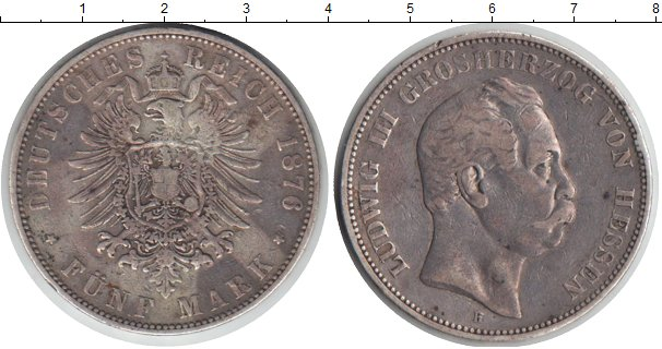 Картинка Монеты Гессен-Дармштадт 5 марок Серебро 1876